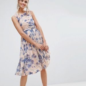 NWOT Peach Floral Midi Dress